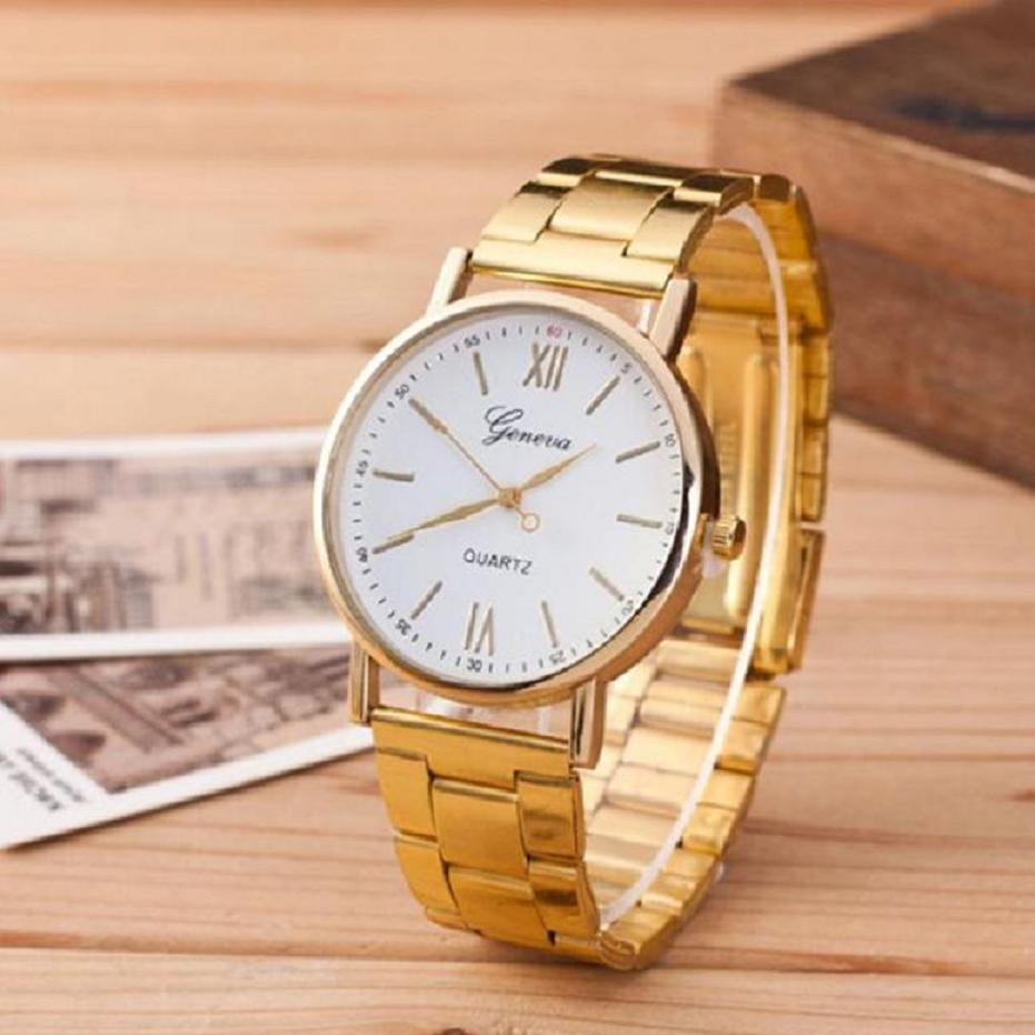 2017 Luxury Brand Geneva Watches Fashion Men Women Ladies Watches Gold Stailess Steel Roman Numerals Analog Quartz Wrist Watch  hot luxury brand geneva fashion men women ladies watches gold stailess steel numerals analog quartz wrist watch for men women