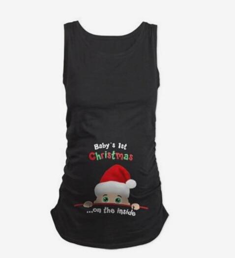 Белва Рождество Смешно Беременности Материнства Детское Лицо Рукавов Футболки Топы одежду Рождество