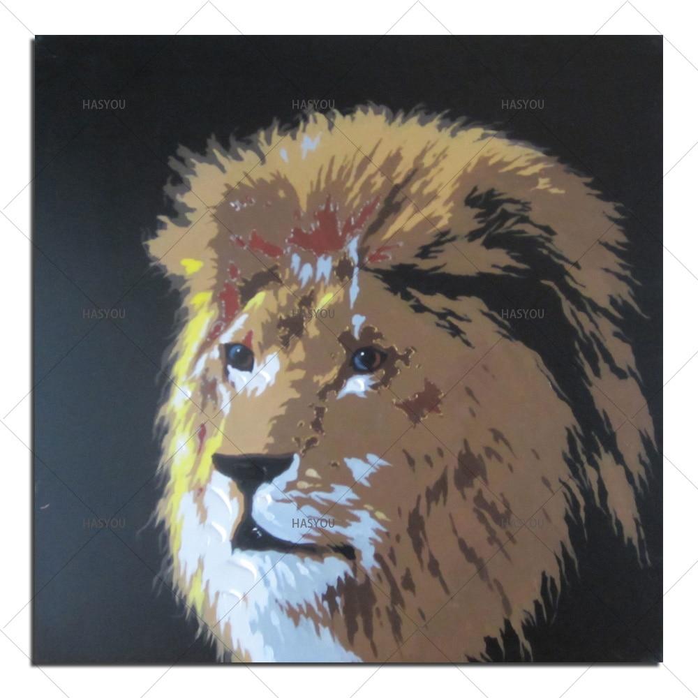 US $14 79 OFF Minyak Lukisan Dengan Tangan Dicat Mewarnai Yang Singa Hewan Lukisan Minyak Di Atas Kanvas Gambar Karya Seni Dinding Rumah Gambar