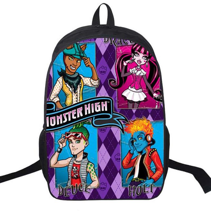 Monster High Backpack 3D Prints Student School Bag Nylon Satchel Preppy Anime Designer Backpack Shoulder Book Bag Girl Rucksack