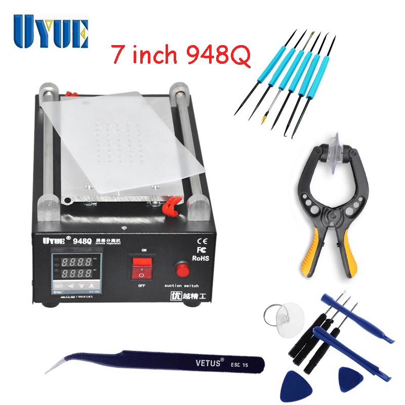 UYUE 948Q Built-in Vacuum Pump Mobile Phone LCD Touch Screen Separator Machine Max 7-inch Lens Glass Repair цена