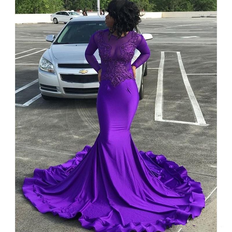 Purple Long Sleeves Mermaid   Prom     Dresses   2019 Lace Appliques Formal Evening   prom   gown vestidos de gala formatura   prom     dress