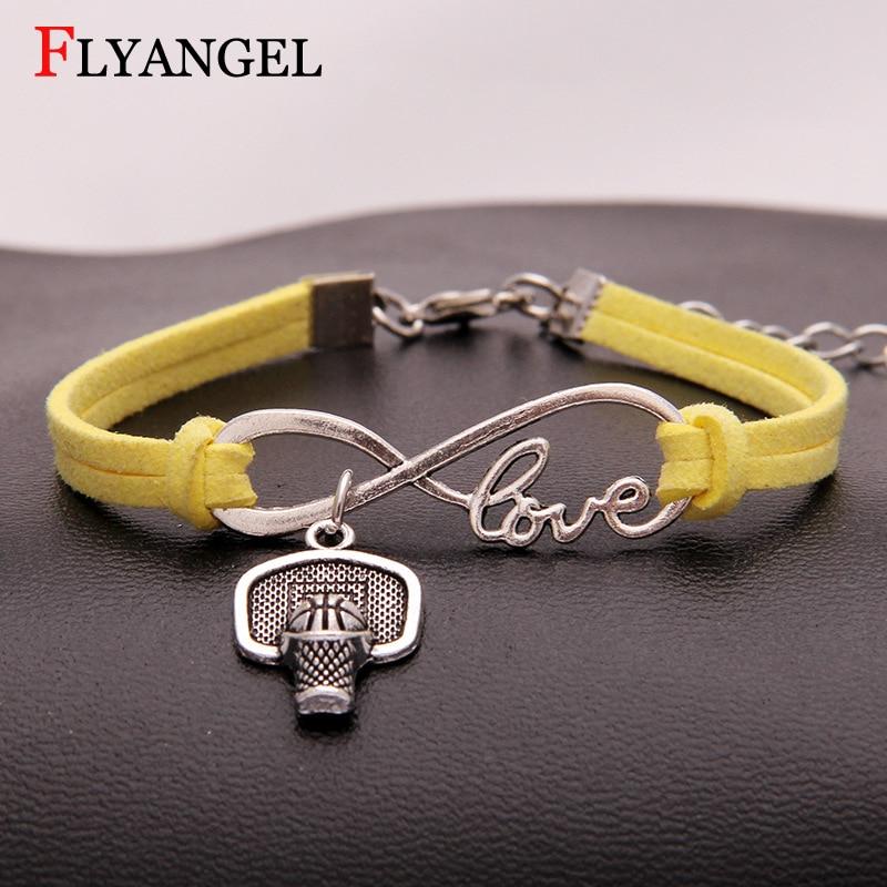 Fashion Charm Women Men Fitness Basketball Hoop Bracelet Infinity Love Chain Bangle Best Friends Couple Bracelet Jewelry
