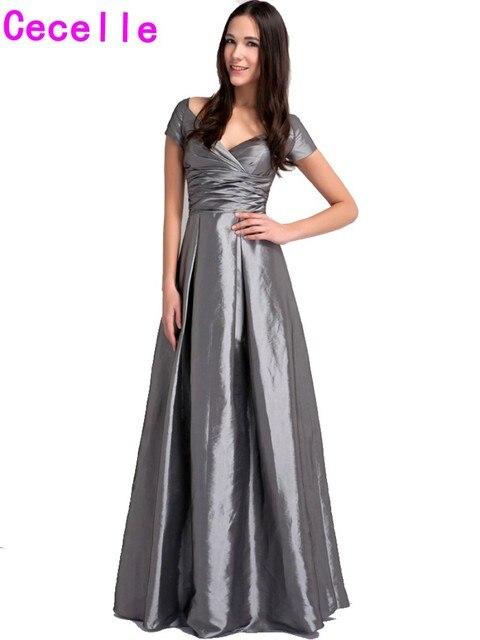 Grey Taffeta Vintage Long Bridesmaid Dresses With Short Sleeves V ...
