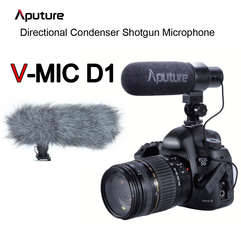 Aputure V-mic Video Camera Microphone Professional Directional Condenser Shotgun Microphone for Canon Nikon Sony DSLR Camcorder aputure digital 7inch lcd field video monitor v screen vs 1 finehd field monitor accepts hdmi av for dslr