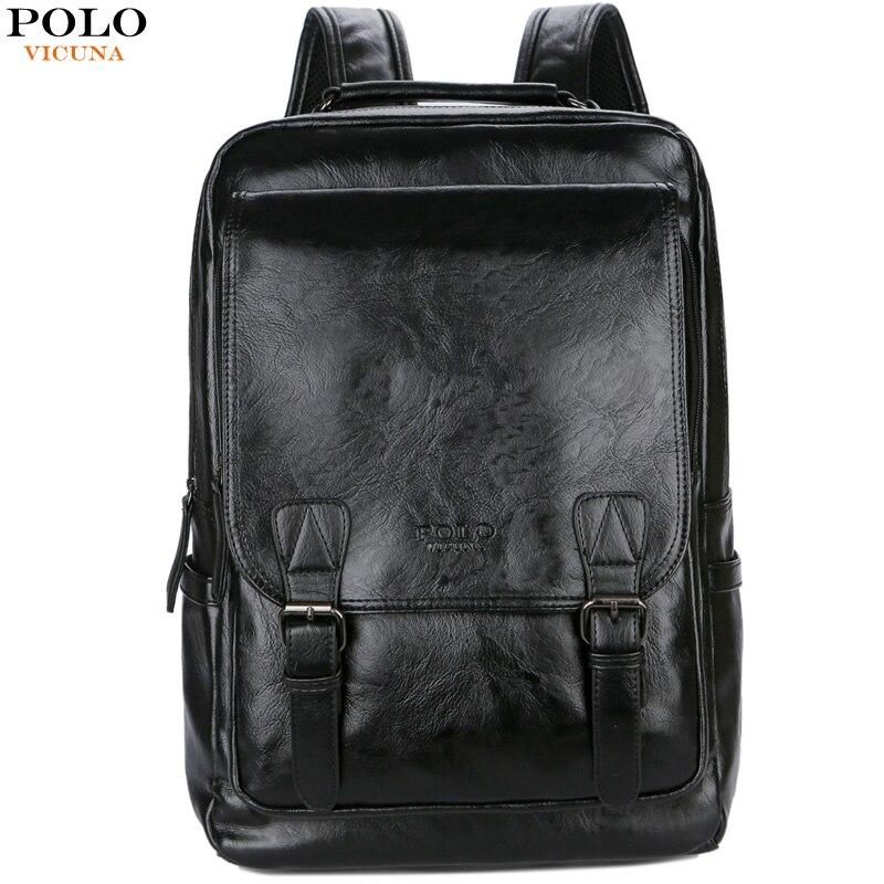 Викуньи поло бренд стильный высокое качество мужской кожаный рюкзак дорожная мужская сумка черный школьный рюкзак сумка бизнес-рюкзак для ...