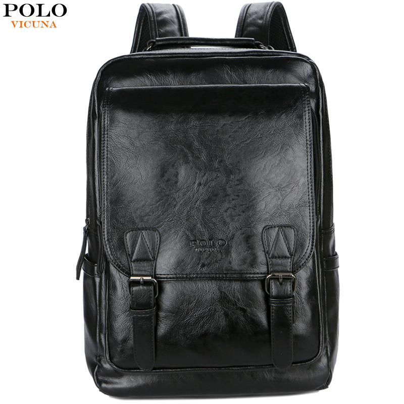 VICUNA POLO Brand Stylish High Quality Man Leather Backpack Travel Man Bag Black School Backpack Bag Business Laptop Backpack famous brand school backpack the avengers captain america iron man fashionable laptop backpacks high quality leather