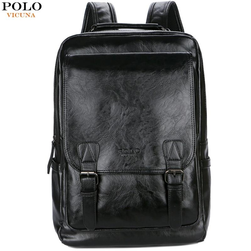 9b8eb25c4 VICUNA POLO Brand Stylish High Quality Man Leather Backpack Travel Man Bag  Black School Backpack Bag ...