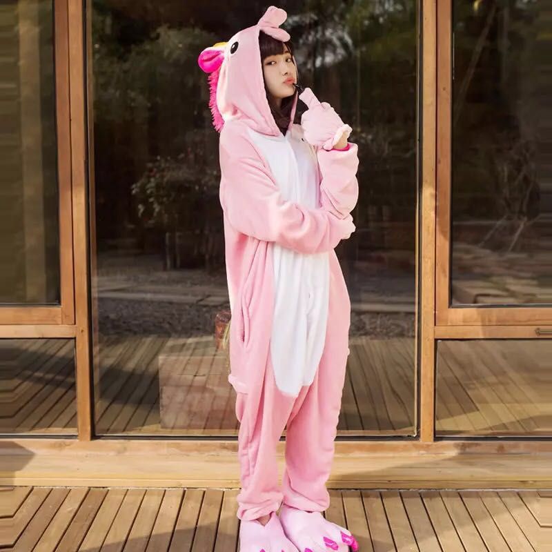 Adult Kugurumi Pajamas Unicorn onesie Women Winter Pajama Kigurumi adult Nightie Stitch unicornio Flannel Sleepwear Overall
