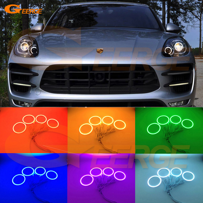 For Porsche Macan 2015 2016 Excellent Angel Eyes Multi-Color Ultra bright RGB LED Angel Eyes kit Halo Rings фаркоп porsche macan 2013 без электрики фаркоп porsche macan 2013 без электрики 2 ро