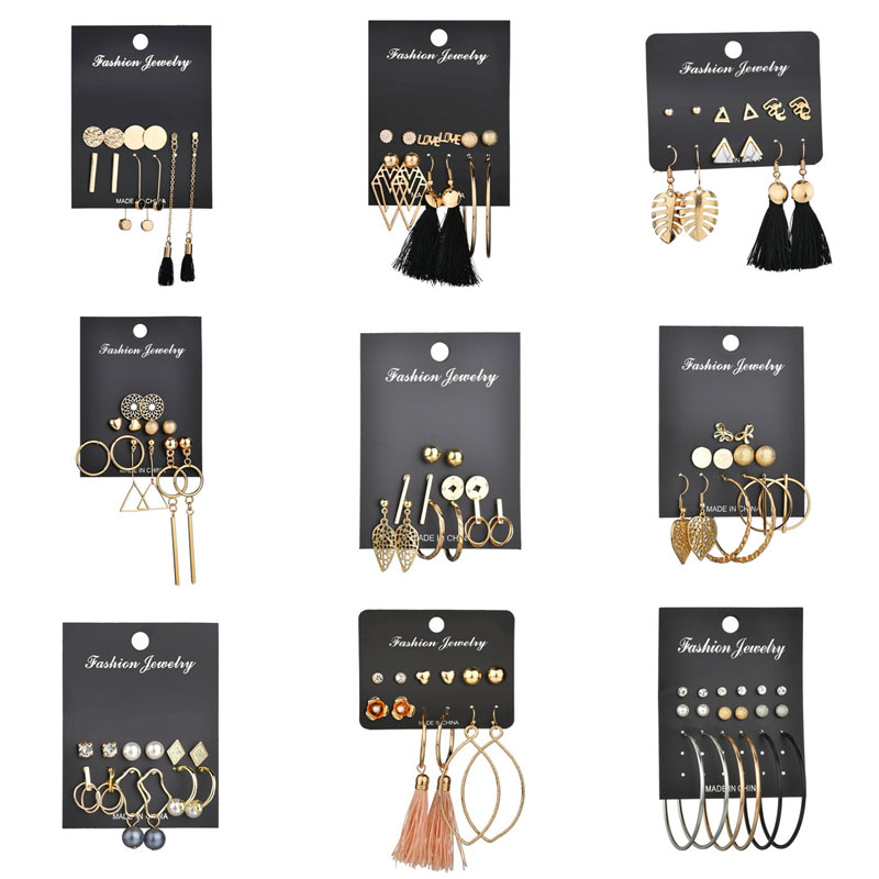 Modyle Gold Color Long Tassel Earrings Set Fashion Round Irregular Stud Earrings For Women Jewelry Gift image