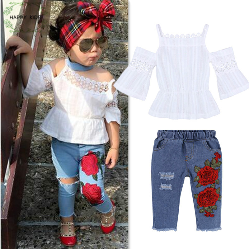 Dtz378 Fashion Summer Girls Clothing Sets Baby Kids Clothes lacework hollow out Tops +Hole flower Jeans 2Pcs Suits Girls Clothes Одежда