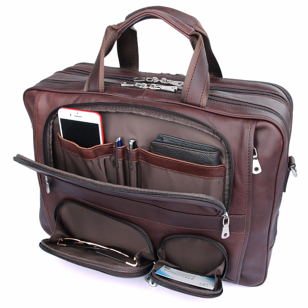 Augus Cow Leather Multi Funcational Office Bag Large Capacity Business Travel Leather Bag For Men Fashion Handbag Brown7289X high quality authentic famous polo golf double clothing bag men travel golf shoes bag custom handbag large capacity45 26 34 cm