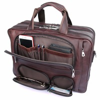 Augus Cow Leather Multi Funcational Office Bag Large Capacity Business Travel Leather Bag For Men Fashion Handbag Brown7289X