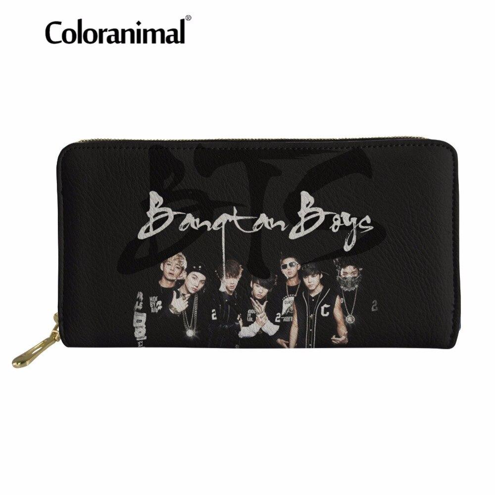Coloranimal Youth Girl Boy Idol BTS Wallet Credit Card Holder PU Leather Long Wallet Bangtan Boys Print Clutch Bag for Women Men finger print pu wallet