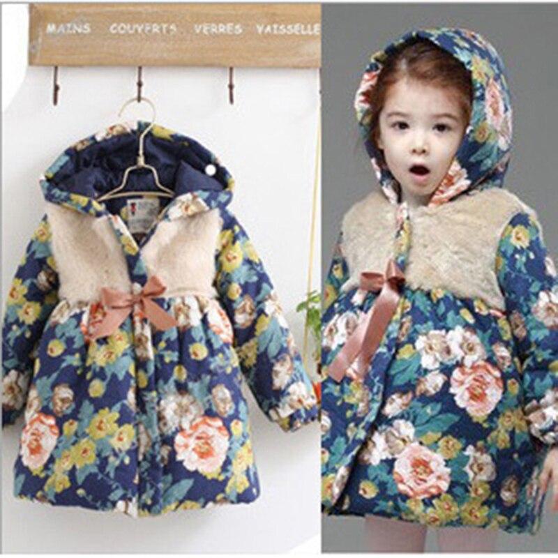 Hot sale 2016 new autumn winter girls korean baby clothes fleece jackets Xmas kids print flower children thick warm coat hoodied