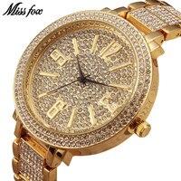 MISSFOX Miss Fox Brand Quartz Wrist Watch Gold Luxury Women Watches Silver Waterproof Bracelet Ladies Watch Bayan Kol Saati