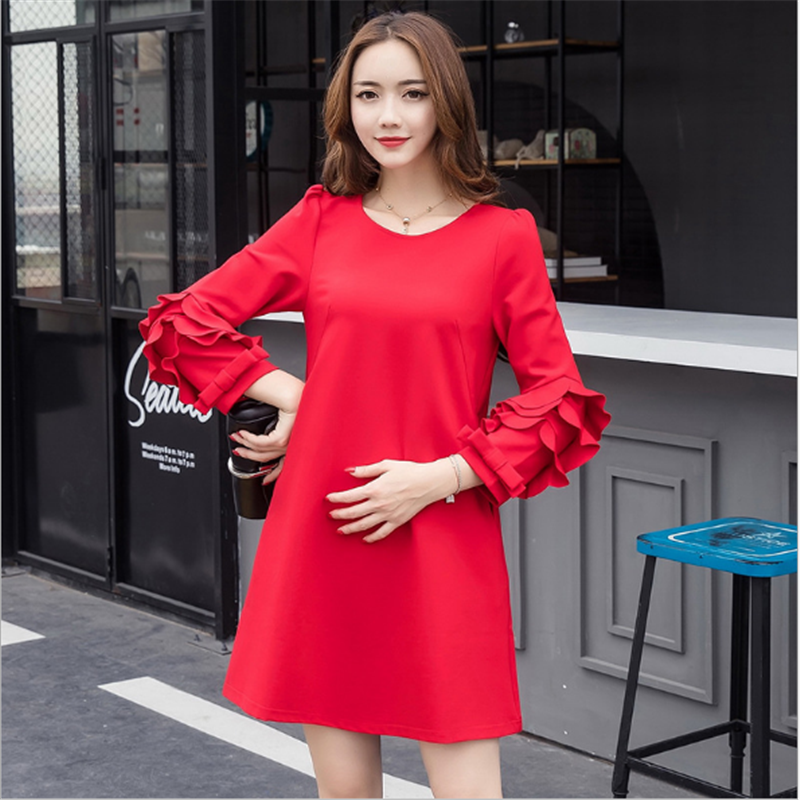 Moms Autumn Maternity Clothes Fashion Pregnant Dress Beautiful Ruffles Sleeve Clothes for Pregnant Women Party Maternity Dresses maternity clothes new stely fashion loose pure color cloak jacket clothes for pregnant women coat