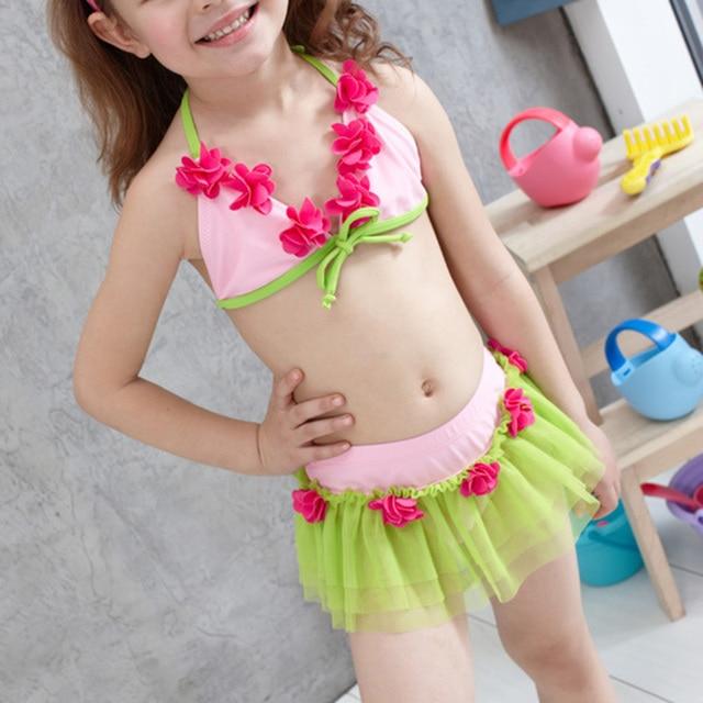 682e44958ef52 Drop Shipping Kids Girls Tankini Swimsuit Lace Flowers Bathing Suit  Children Two Pieces Swimming Suit Bikini