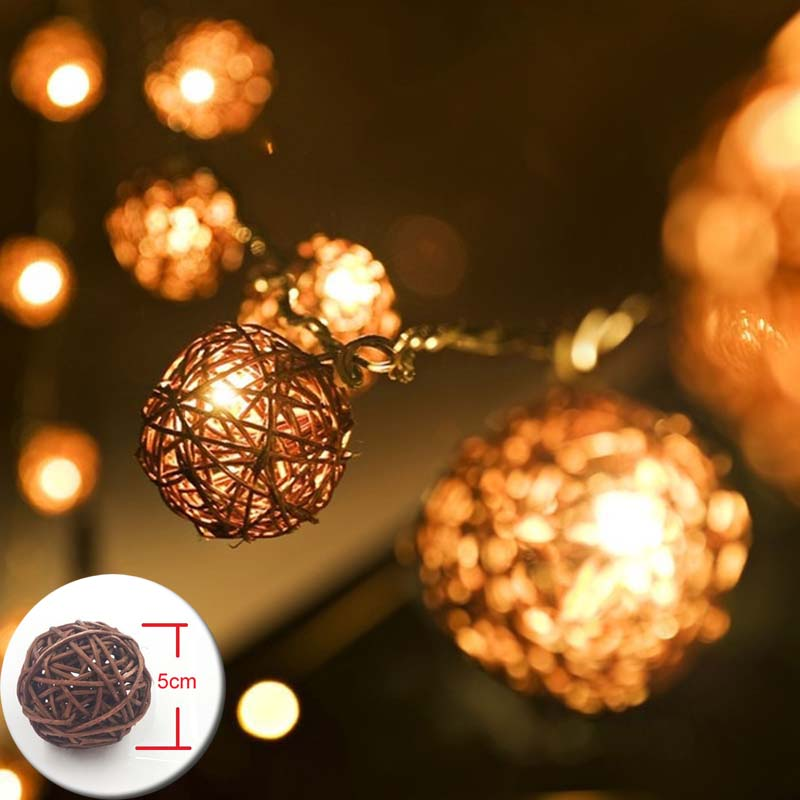 YIMIA 5cm Rattan Balls LED Lights String Holiday Christmas Lights Outdoor Garland Gerlya ...