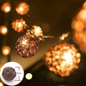 Image 1 - YIMIA 5cm kulki rattanowe LED łańcuch świetlny świąteczne lampki świąteczne zewnętrzna girlanda Gerlyand na wesele dekoracja do pokoju dziecięcego dla dzieci