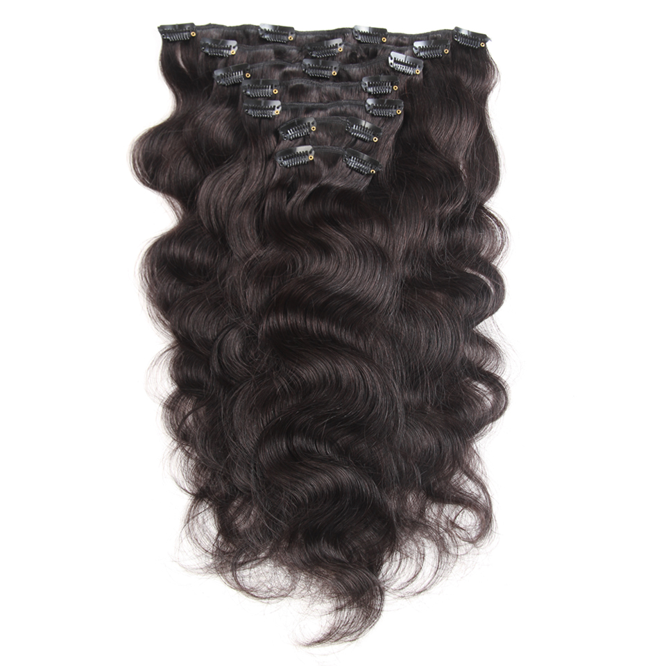 Clip In Human Hair Extensions Brazilian Machine Made 120g Full Head 7pcs Set 18-22 Inch Remy Hair Clip In Extensions