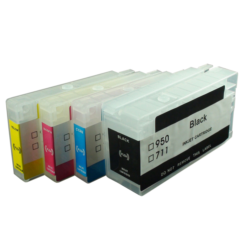 Vilaxh 4PCS 711XL Refiilable Ink Cartridge For HP 711 xl Designjet T120 24T520 24T520 S36 T120 610 T520 printer in Ink Cartridges from Computer Office