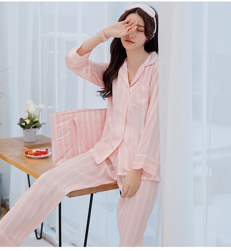 Sexy pink vertical striped satin silk pajamas Sets women summer sweet  nightwear long sleeve Texture pijamas pyjamas sets women 89448a9e0