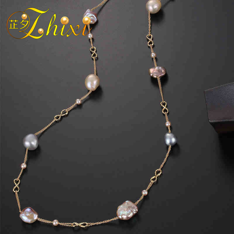 ZHIXI Fine 9K Yellow Gold Jewelry Long Pearl Necklace Natural Baroque Pearl Sweater Chain For Women Anniversary Gift EB44 [daimi] multi color baroque pearl necklace 160cm long sweater chain natural pearl long necklace beach style