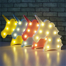 Night Light Unicorn Lamp LED Unicornio Head Children's Night Light 3D Colorful Lamps For New Year Gift Party Table Decoration цена и фото