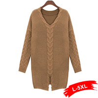 Plus Size Front Split Twisted Pattern Sweater Winter 4Xl 3Xl V Neck Large Size Mid Long Sweaters Women Thick Pullovers Jumper