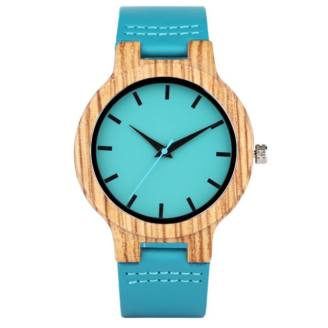 Luxury Royal Blue Wood Watch Top Quartz Wristwatch 100% Natural Bamboo Clock Casual Leather Valentine's Day Gifts for Men Women 4