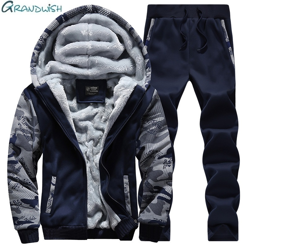 Grandwish Mens Casual Tracksuit New Brand Warm Two Piece Men Sets All Cotton Fleece Sets Male Thick Hooded Jacket + Pants ,DA911