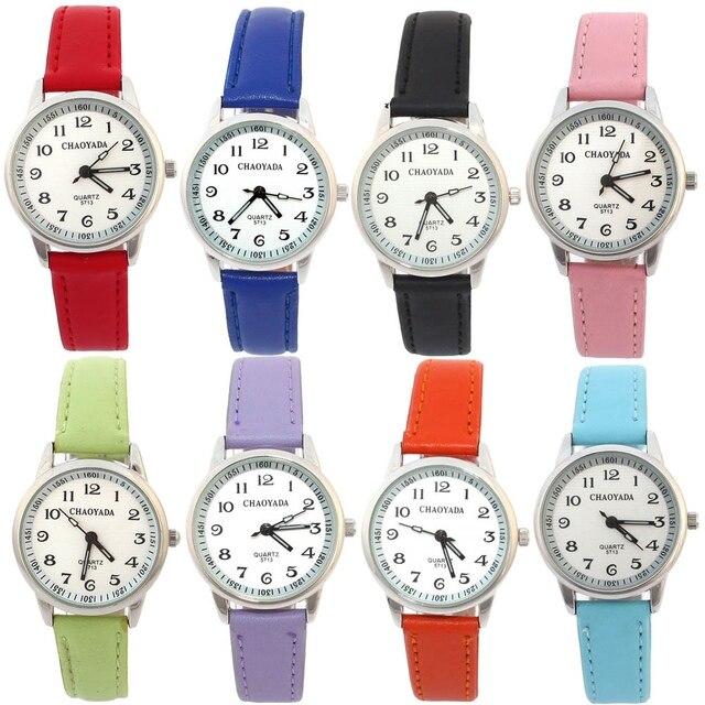 59747d84f Fashion Learn Time Watch Kids Watch Time Teacher Boy Girl Watch Black  Leather Wristwatch Children s Tutor Party Gift U13