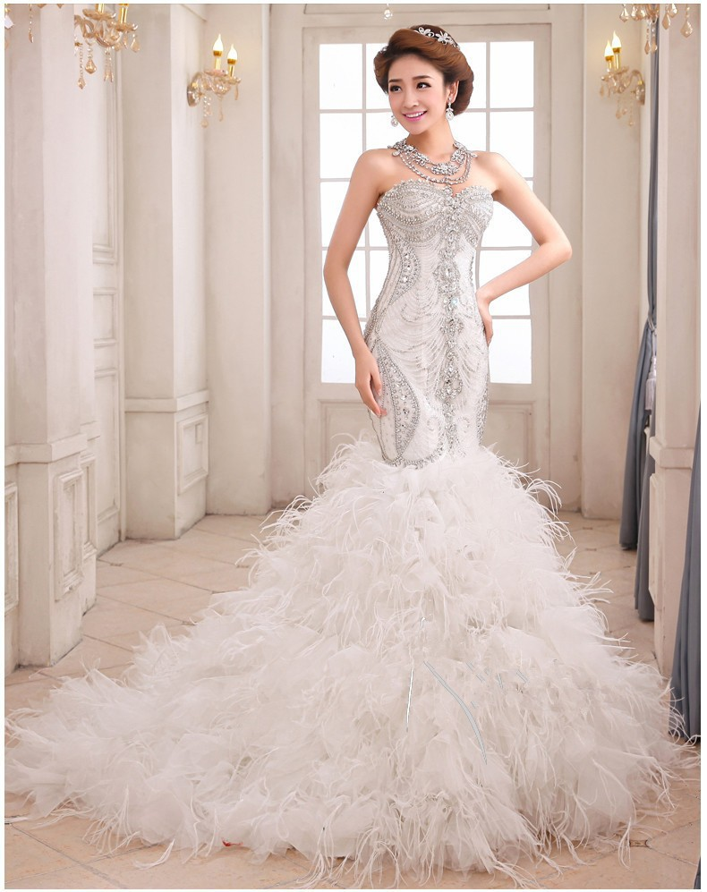 Wedding dresses luxury mermaid wedding gown sweetheart for Mermaid wedding dresses with feather bottom