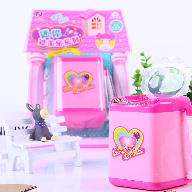 Play House Home Simulation Q Version Small Household Appliances Mini Washing Machine Toys Electric Children New Strange Toy Gift 3