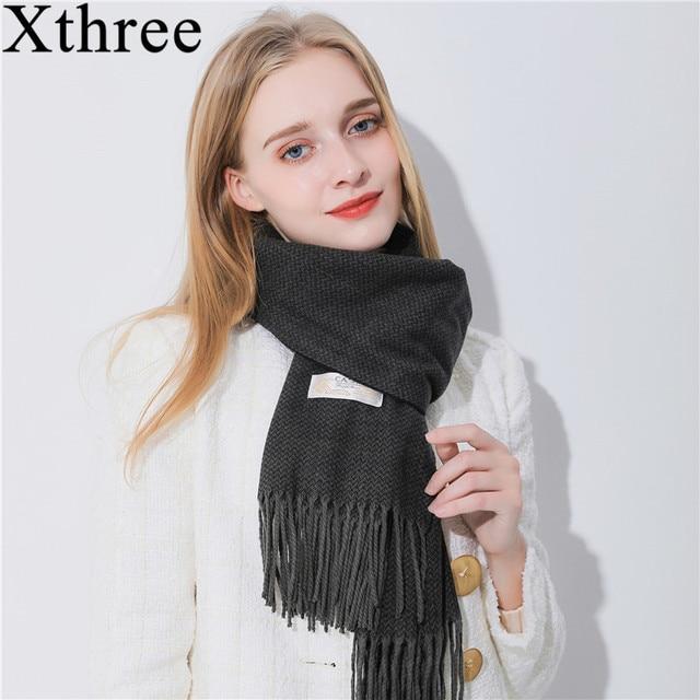 23994b5b5 Xthree 180* 75 Women's Scarf For Women Shawls Scarves for Women Luxury Scarf  Winter Brand Soft Cashmere Scarf stripe lady