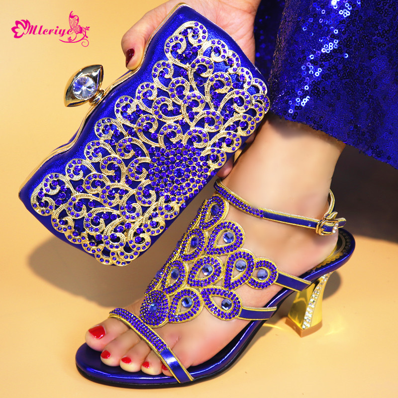 Latest blue Color African Matching Shoes and Bags Italian In Women Ladies Italian Shoes and Bag Set Decorated with Rhinestone latest orange color african matching shoes and bags italian in women italian ladies shoes and bag set decorated with rhinestone