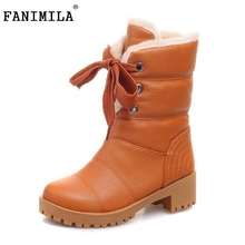 Women Half Short Boots Square Heels Winter Thicken Fur Warm Mid Calf Boot Bota Lace-up Gladiator Botas Shoes Size 34-43