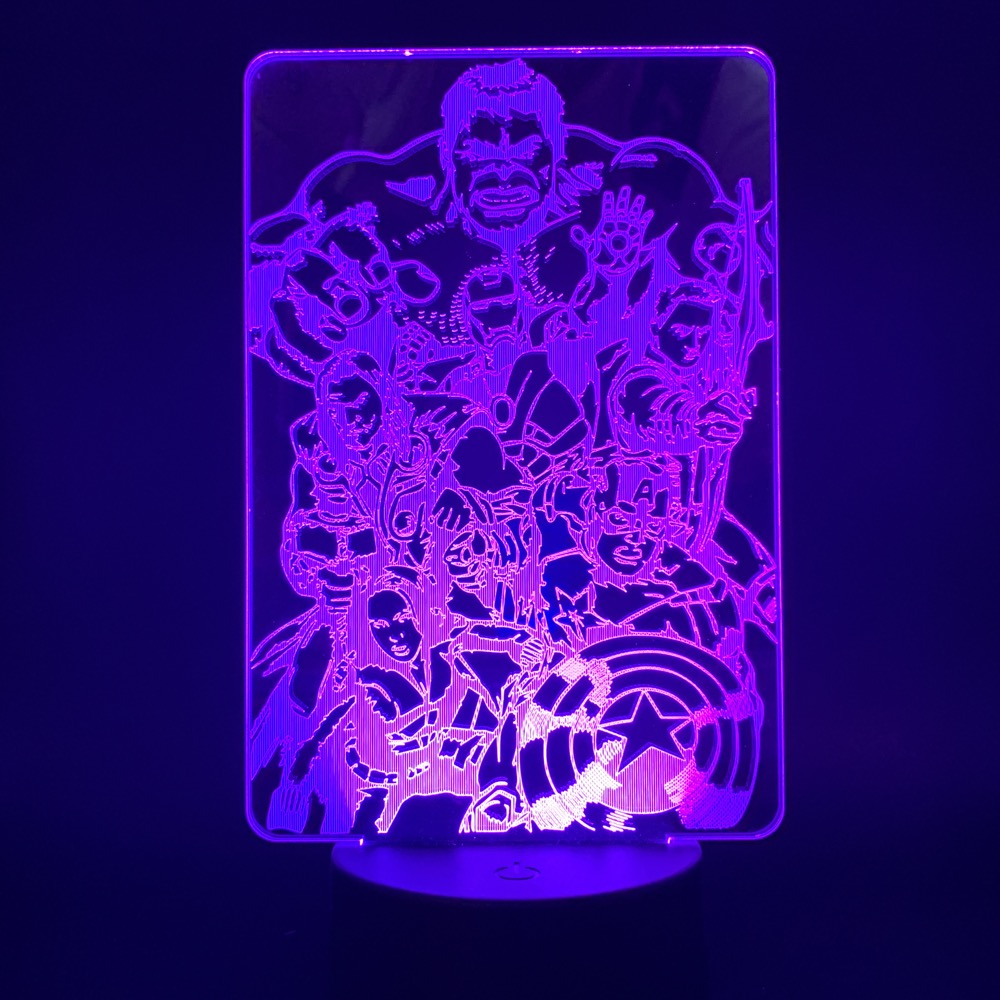Led Night Light Avengers Endgame Superheros Compilations for Office Room Decorative Usb Battery Powered Acrylic 3d Lamp Bedside in LED Night Lights from Lights Lighting