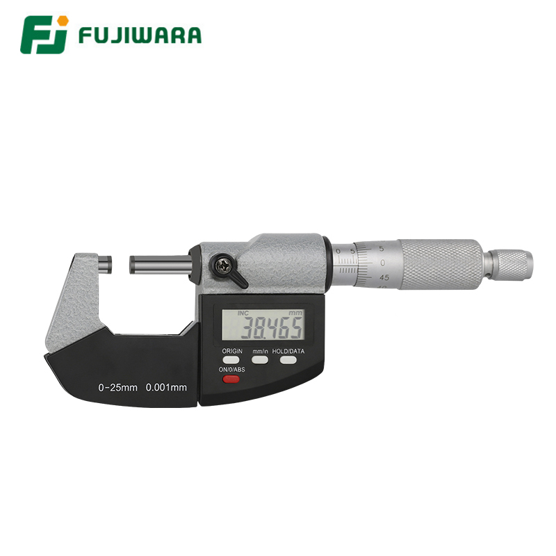FUJIWARA Industrial Digital Micrometer 0-25mm Screw Micrometer External Micrometer Measuring CaliperFUJIWARA Industrial Digital Micrometer 0-25mm Screw Micrometer External Micrometer Measuring Caliper