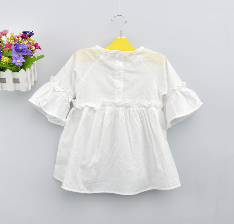 Summer Kid Girls Shirts and Blouses with Half Sleeve Cotton Plaid Lotus leaf collar Children Girls  shirts Baby Girls Clothes