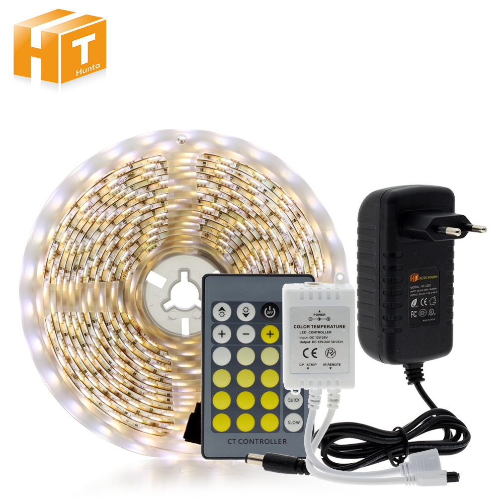 Double Color Led Strip Light 5025 / 2835 Cold White + Warm White 12V Strip 5M + CT Remote Controller +12V 3A Power Supply led strip white 5630 non waterproof 300 led 5m ribbon with remote controller 12v 3a power supply for home desk decoration