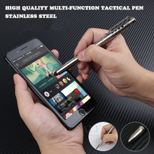Multi Funzione di Auto Difesa Tactical Pen Con La Penna di Tocco Dello Stilo Dello Schermo Interruttore Di Vetro Di Emergenza Esterna Di Sopravvivenza EDC Strumento di Regalo Scatola di