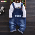 baby boys boys t shirts and overalls clothing sets spring  long-sleeve + soft denim bib pants suit for toddler boy clothes