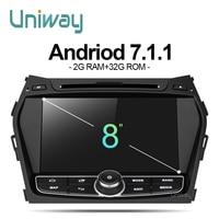 Uniway ZIX458071 2G + 32G android 7.1 auto dvd-speler voor Hyundai Santa FE IX45 2013 2014 stereo autoradio gps navigatie