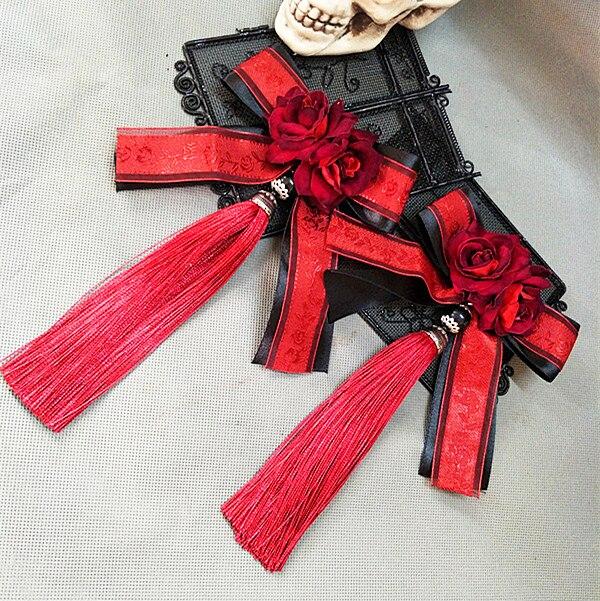 Sweet Lolita Ribbon Bowknot Hairpin Tassel Hair Clip Accessories For Women Headpiece Gothic Japanese Girl Flower Clips Fancy Dre 3