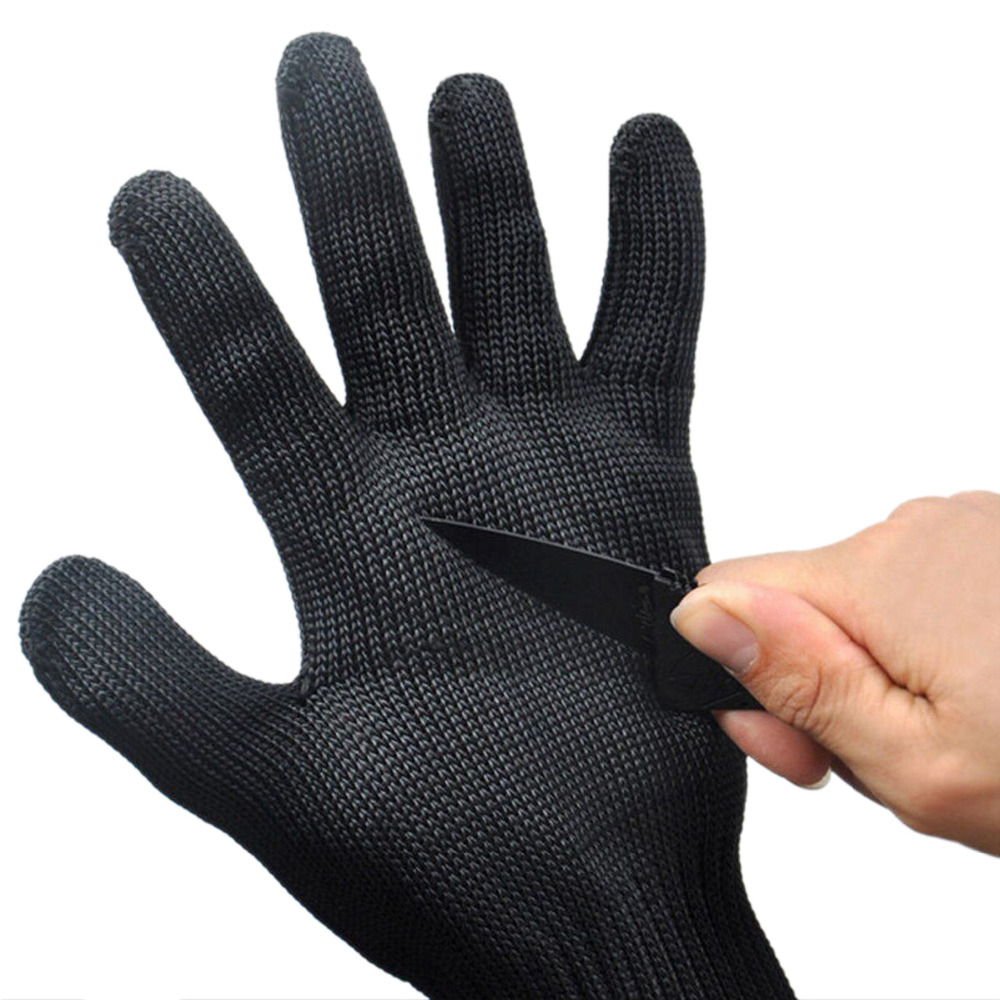 Black Safety Gloves 1 Pair Cut Proof Stab Resistant Stainless Steel Wire Metal Mesh Butcher Anti-Knife cut resistant glove level 5 wire anti edge anti stab knife cut resistant gloves stainless steel wire1pcs price