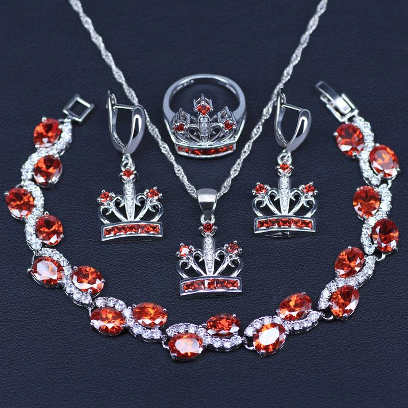 Brautschmuck Sets Mystic Rot Zirkon 925 Sterling Silber Schmuck Sets Für Frauen Hochzeit Zubehör Ohrringe/anhänger/halskette/ringe/ Armbänder Set