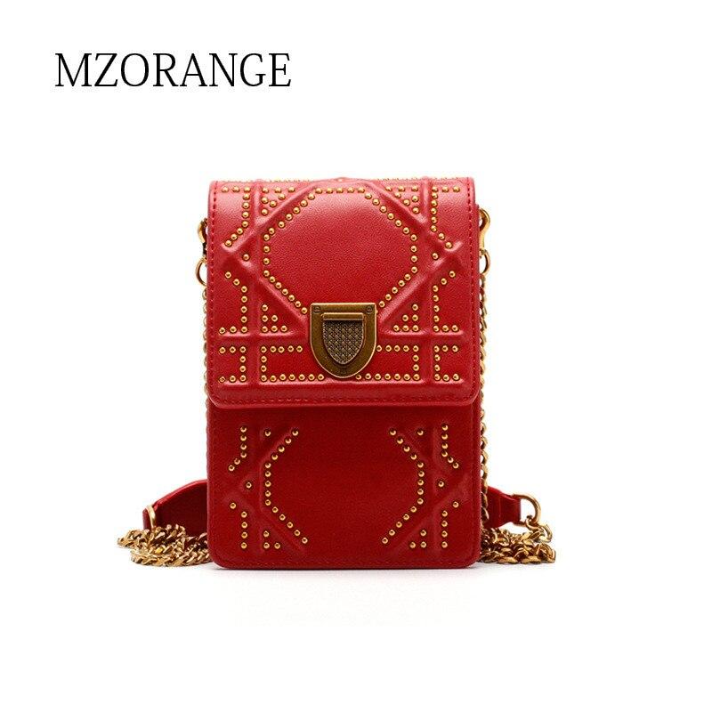 MZORANGE 2018 Genuine Leather women's Flap Chain Bags small Mobile phone bag Fashion Rivets design Lady Shoulder Crossbody Bags